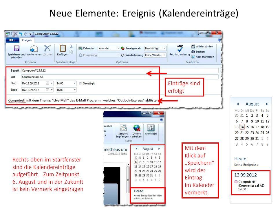Neue Elemente: Ereignis (Kalendereinträge)