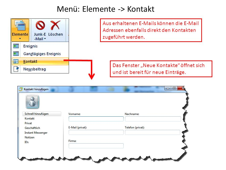 Menü: Elemente -> Kontakt