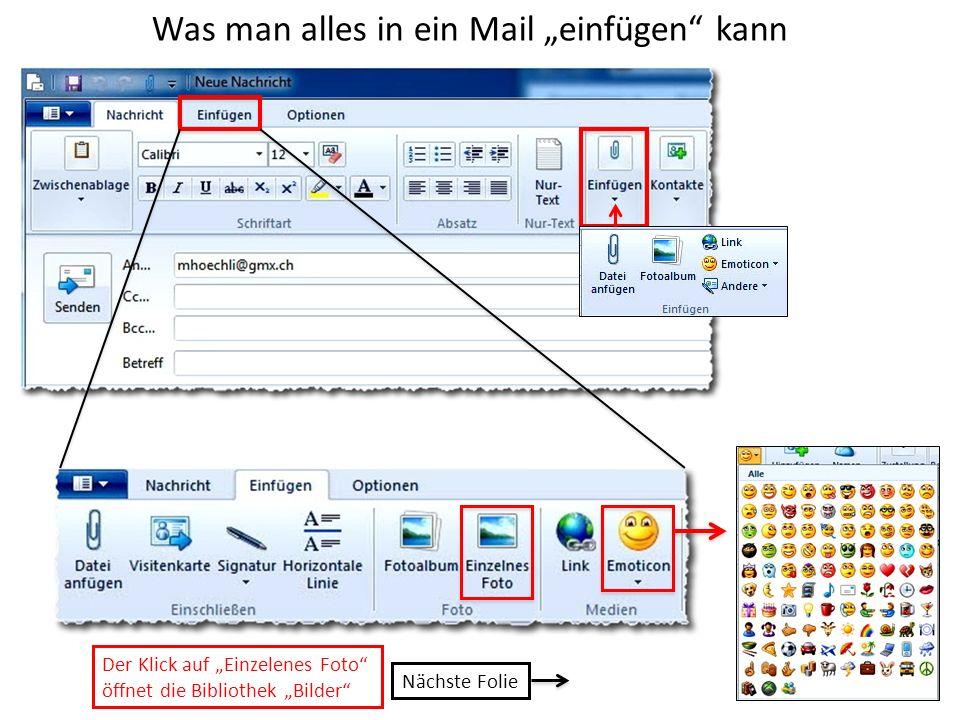 """Was man alles in ein Mail """"einfügen kann"""