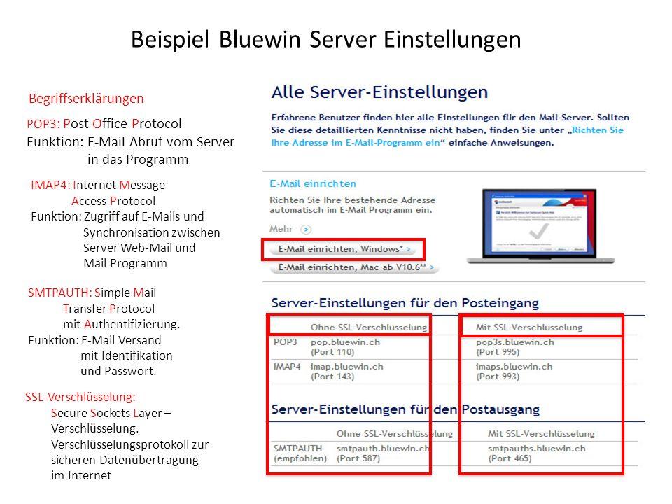 Beispiel Bluewin Server Einstellungen