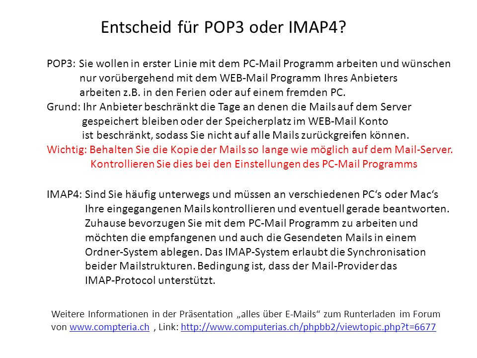 Entscheid für POP3 oder IMAP4