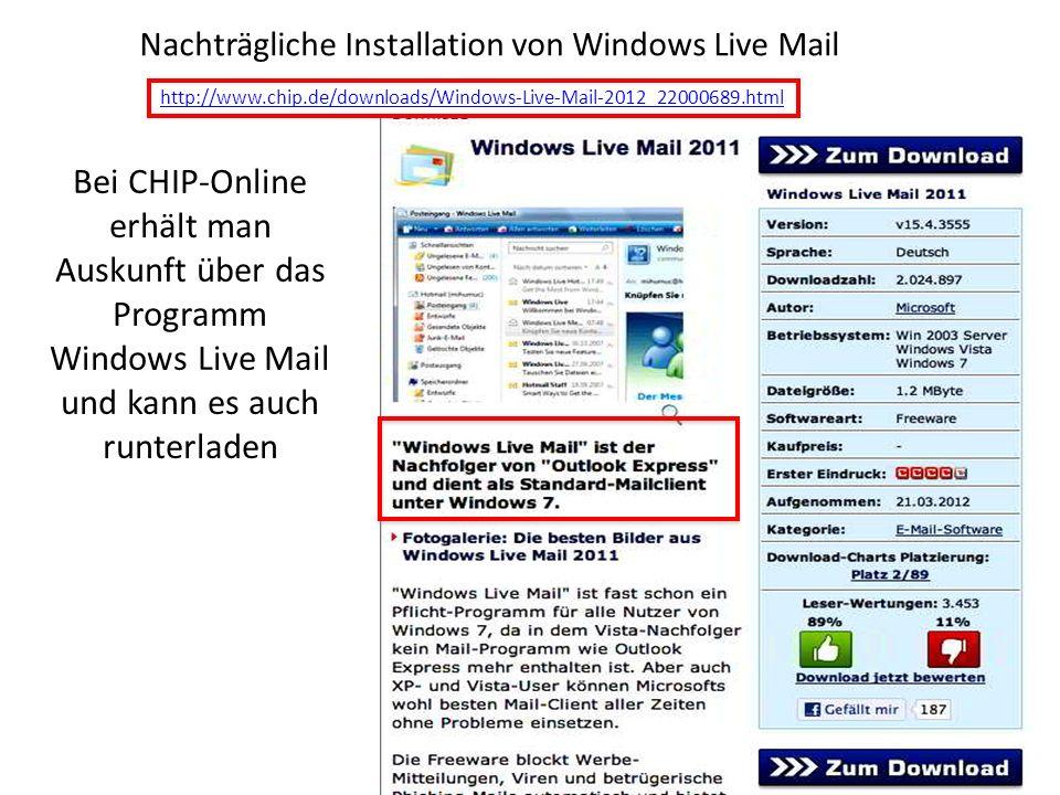 Nachträgliche Installation von Windows Live Mail