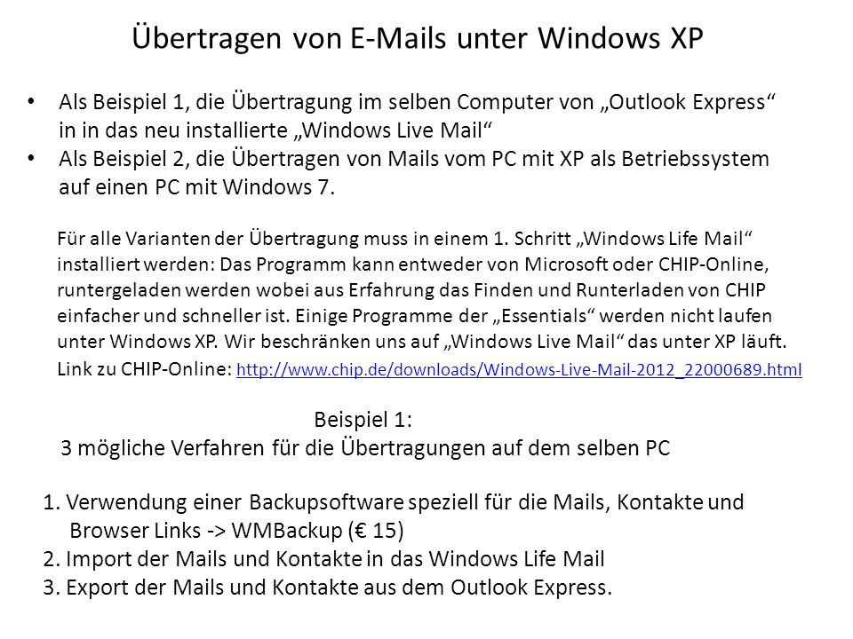 Übertragen von E-Mails unter Windows XP