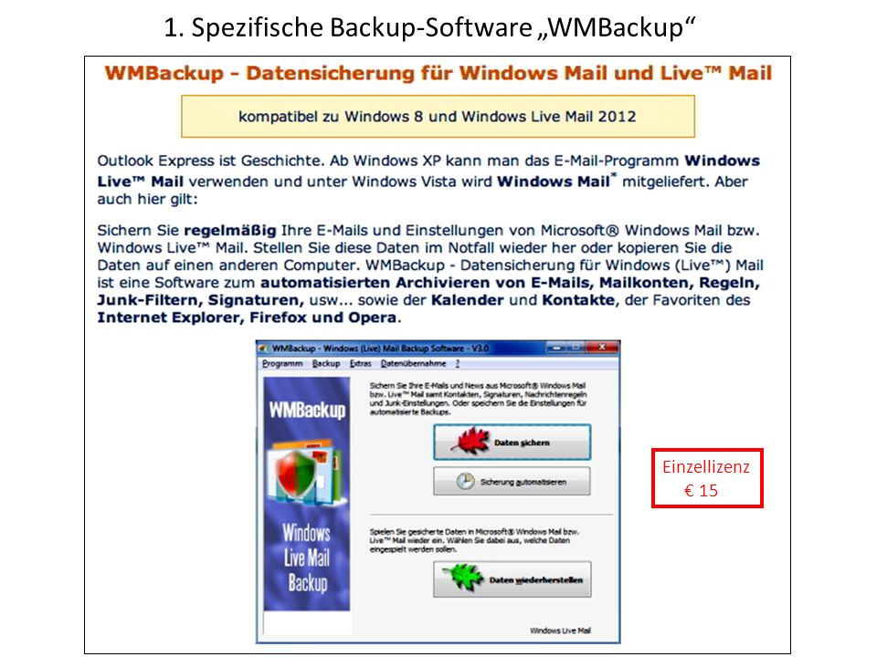 "1. Spezifische Backup-Software ""WMBackup"