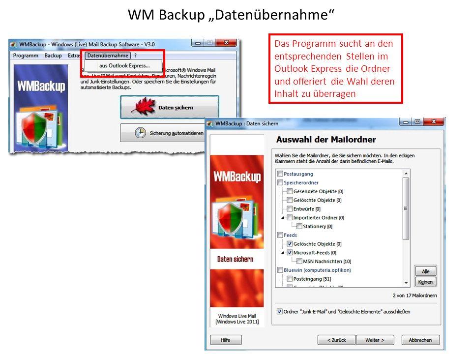"""WM Backup """"Datenübernahme"""