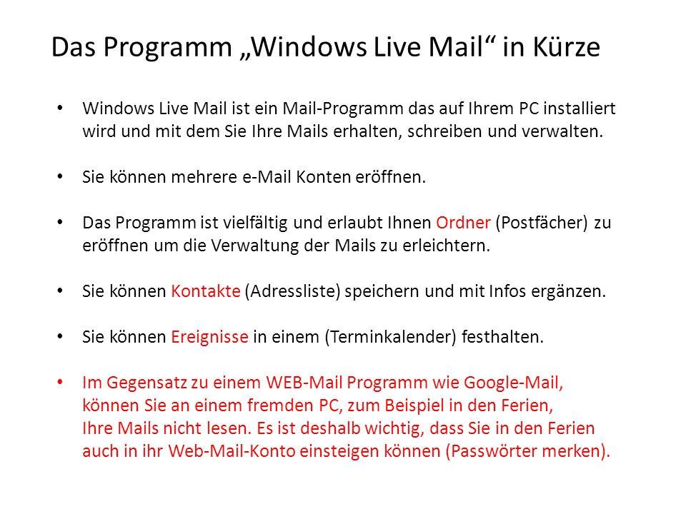 "Das Programm ""Windows Live Mail in Kürze"
