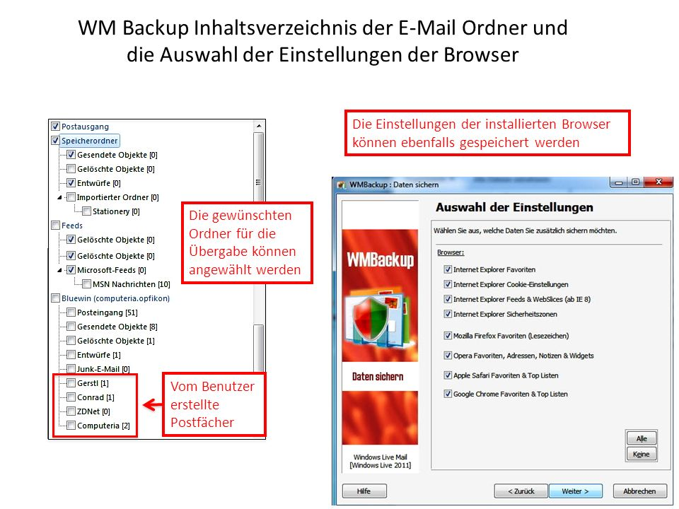 WM Backup Inhaltsverzeichnis der E-Mail Ordner und die Auswahl der Einstellungen der Browser