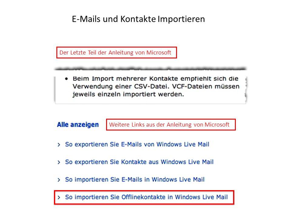 E-Mails und Kontakte Importieren