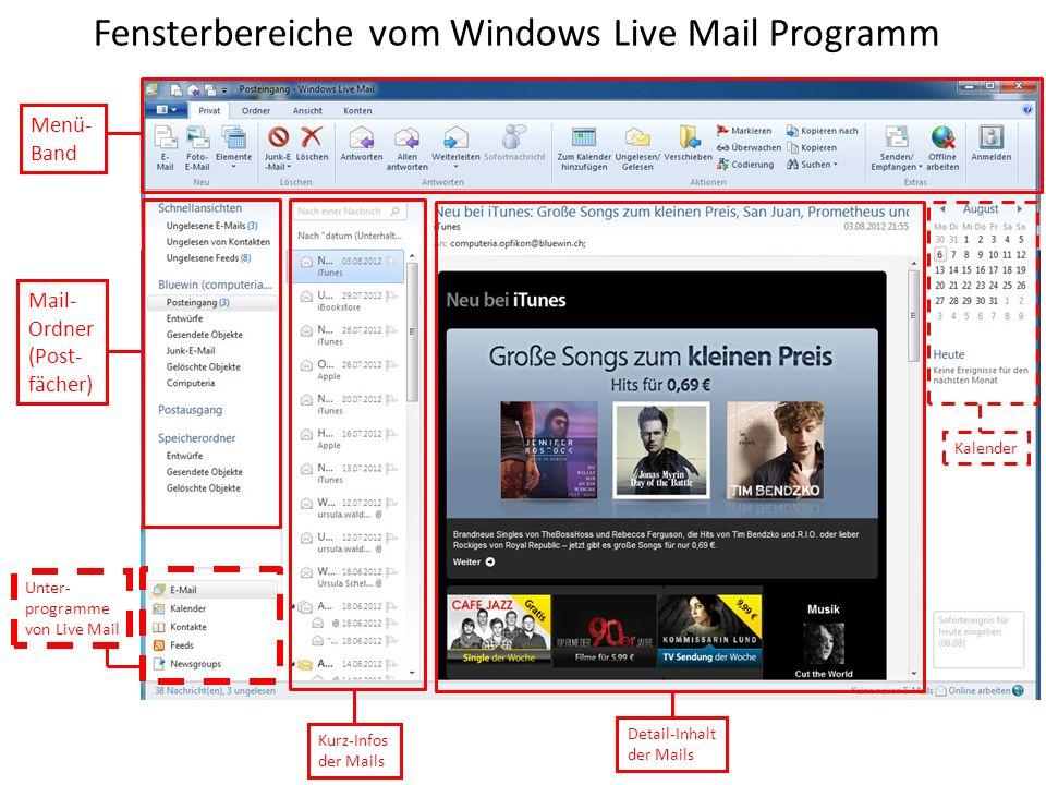 Fensterbereiche vom Windows Live Mail Programm