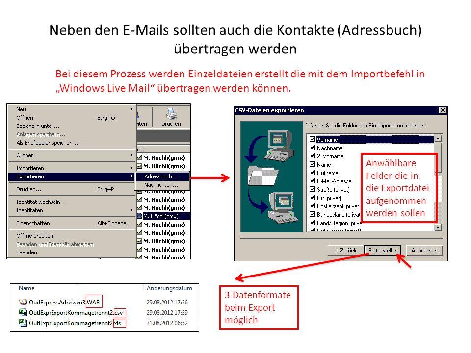 Neben den E-Mails sollten auch die Kontakte (Adressbuch) übertragen werden