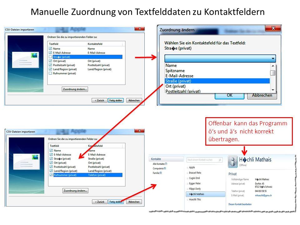 Manuelle Zuordnung von Textfelddaten zu Kontaktfeldern