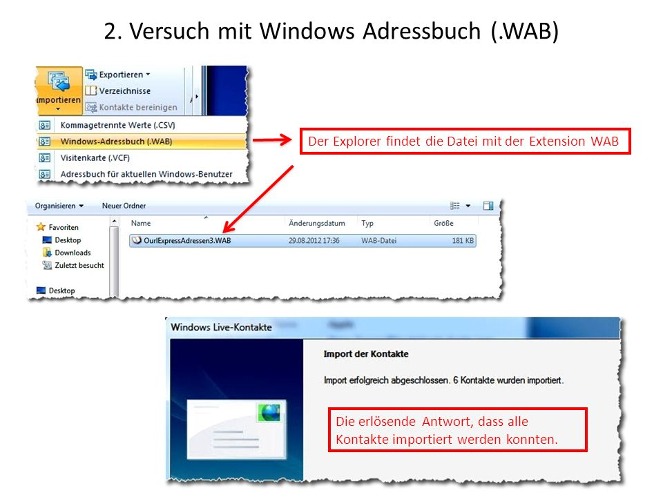2. Versuch mit Windows Adressbuch (.WAB)