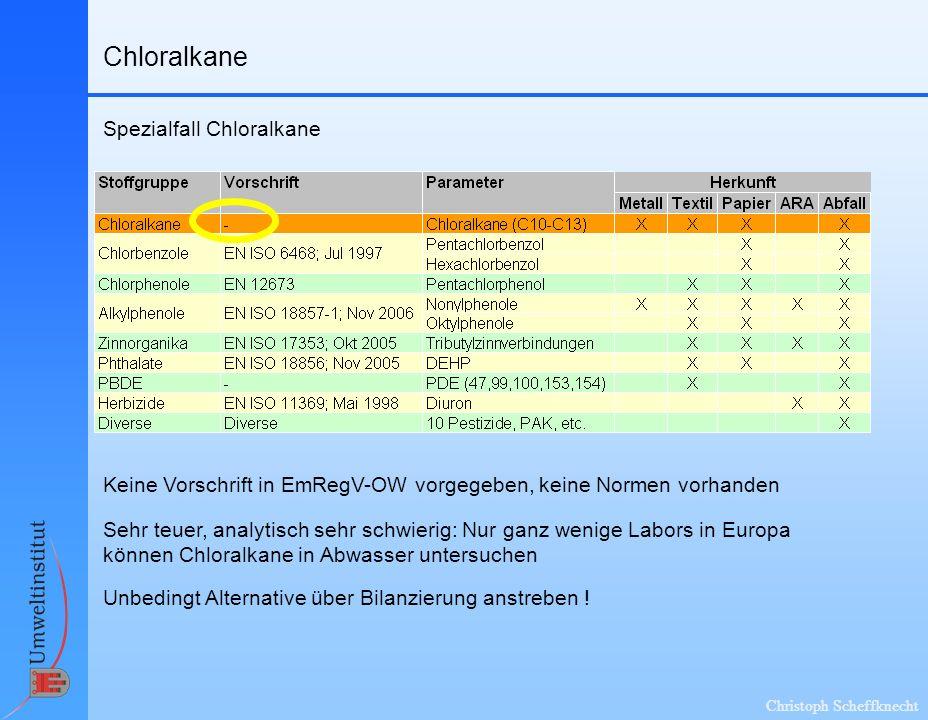 Chloralkane Spezialfall Chloralkane