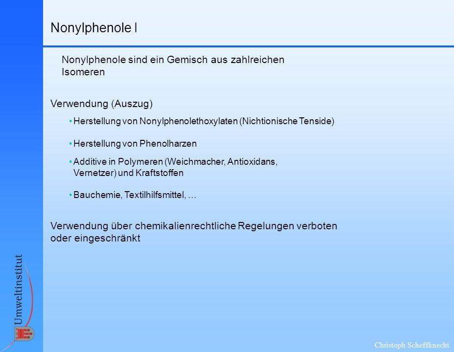 Nonylphenole I Nonylphenole sind ein Gemisch aus zahlreichen Isomeren