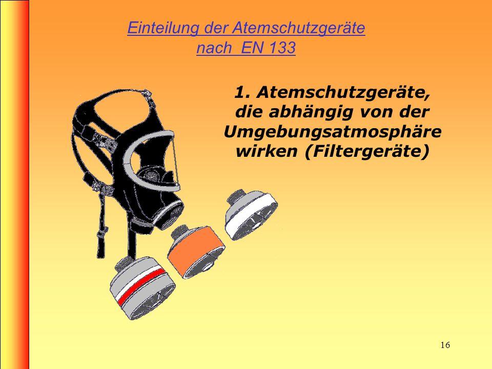 Einteilung der Atemschutzgeräte nach EN 133