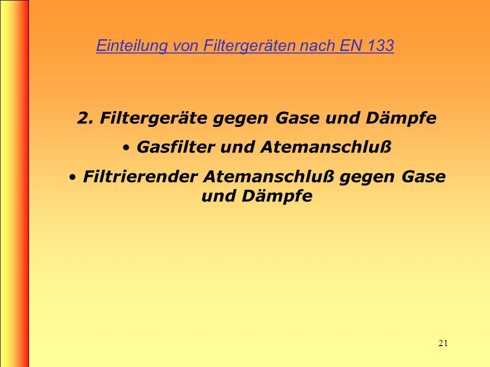 Einteilung von Filtergeräten nach EN 133
