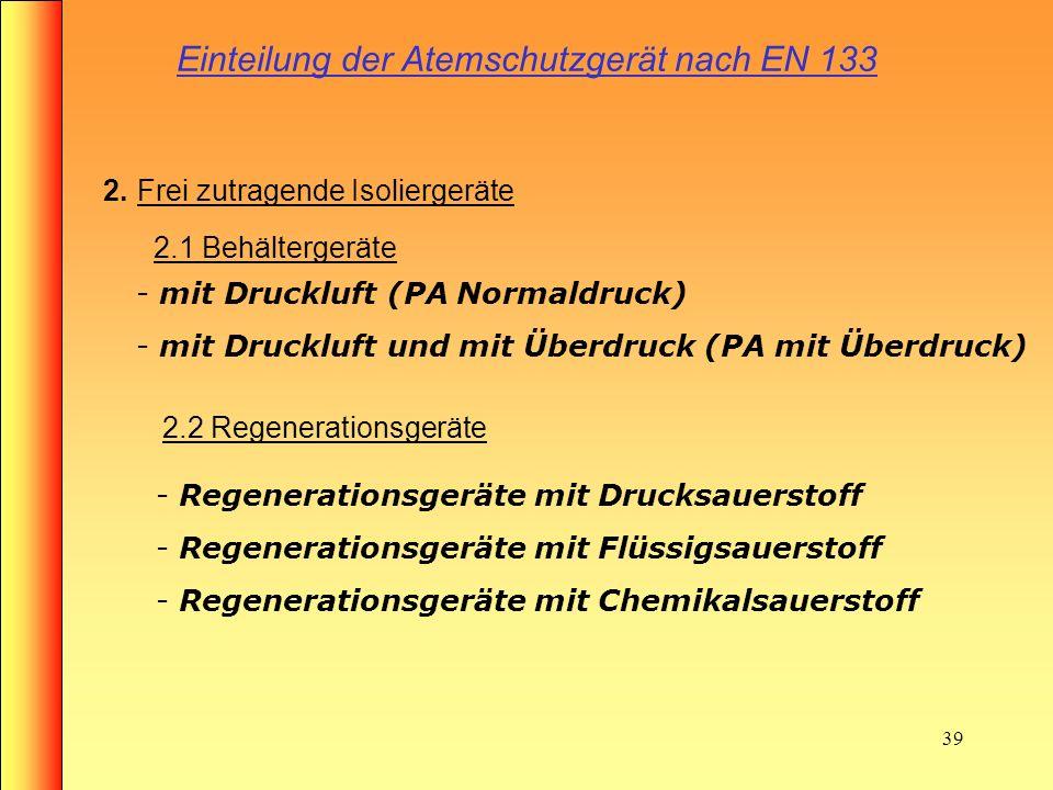 Einteilung der Atemschutzgerät nach EN 133