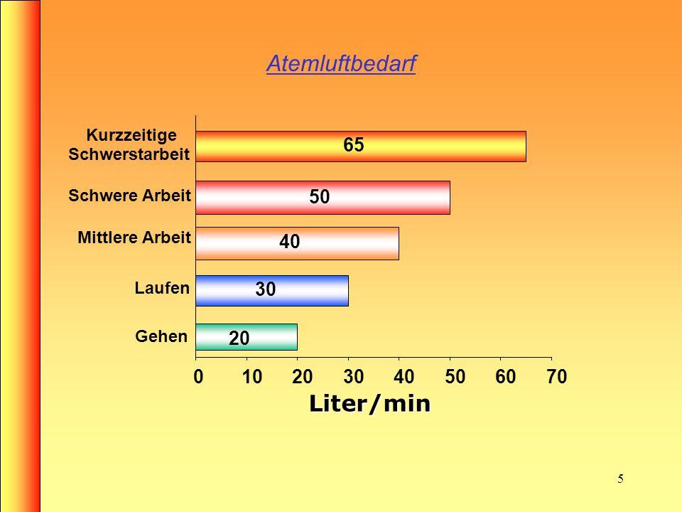 Atemluftbedarf Liter/min 20 30 40 50 65 10 60 70 Kurzzeitige