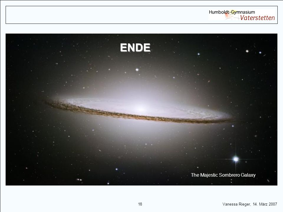 ENDE The Majestic Sombrero Galaxy