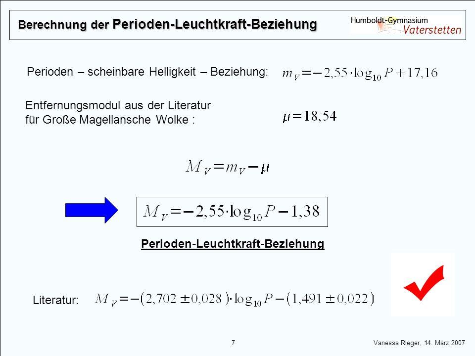 Berechnung der Perioden-Leuchtkraft-Beziehung