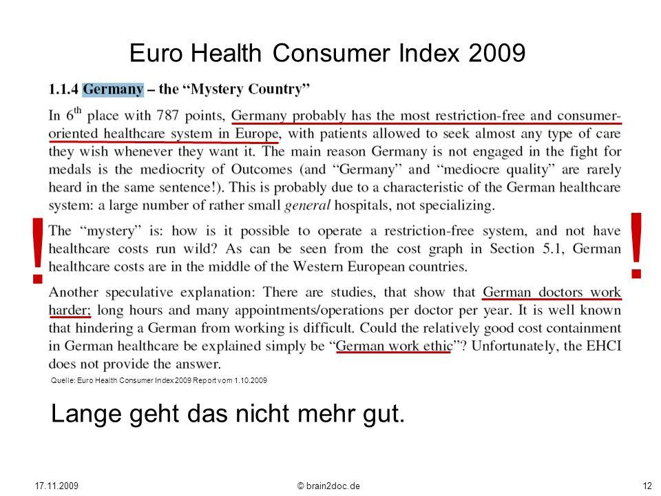 ! Euro Health Consumer Index 2009 Lange geht das nicht mehr gut.
