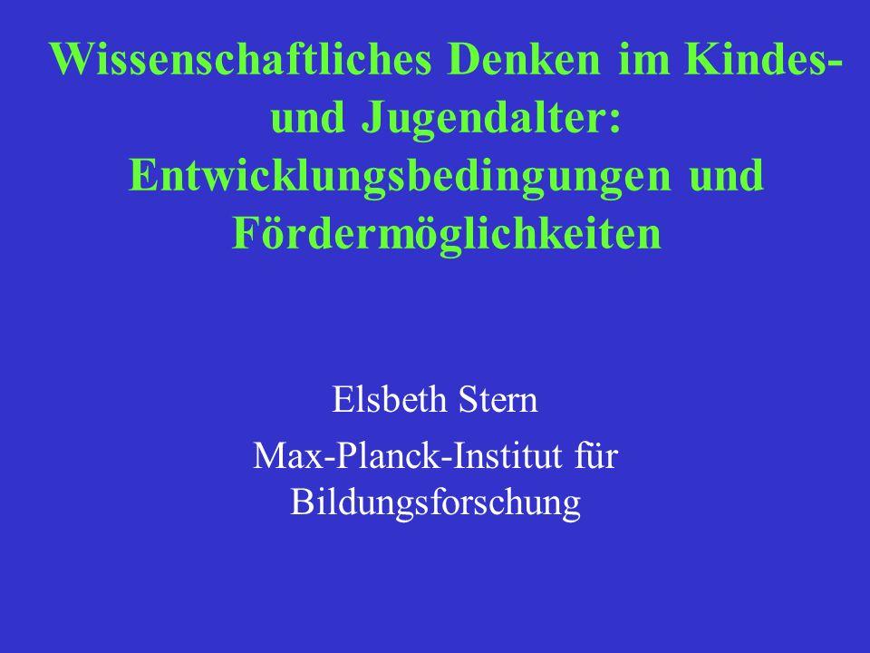 Elsbeth Stern Max-Planck-Institut für Bildungsforschung