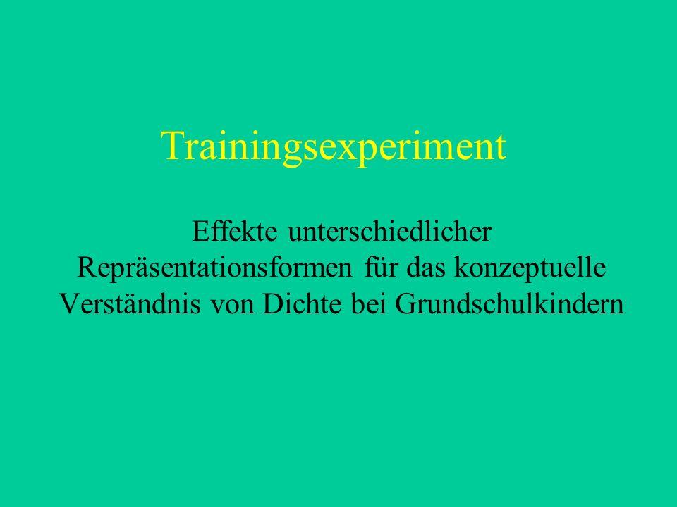 Trainingsexperiment Effekte unterschiedlicher Repräsentationsformen für das konzeptuelle Verständnis von Dichte bei Grundschulkindern.