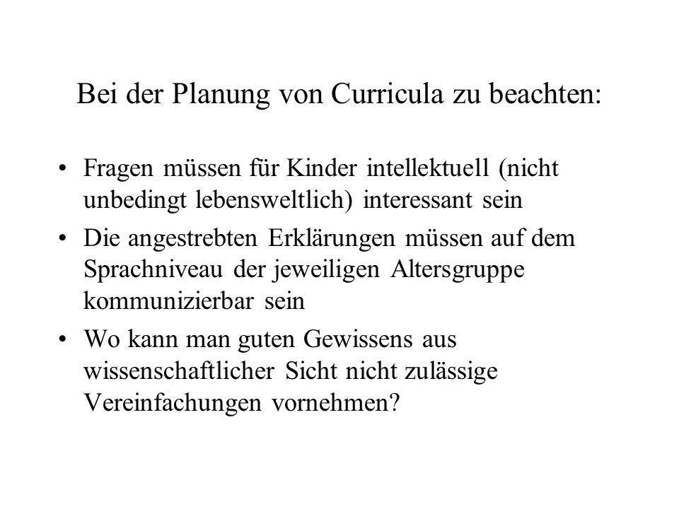 Bei der Planung von Curricula zu beachten: