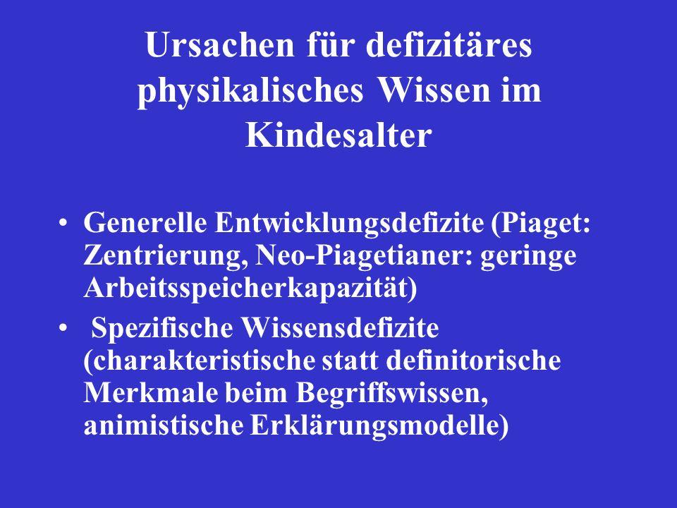 Ursachen für defizitäres physikalisches Wissen im Kindesalter