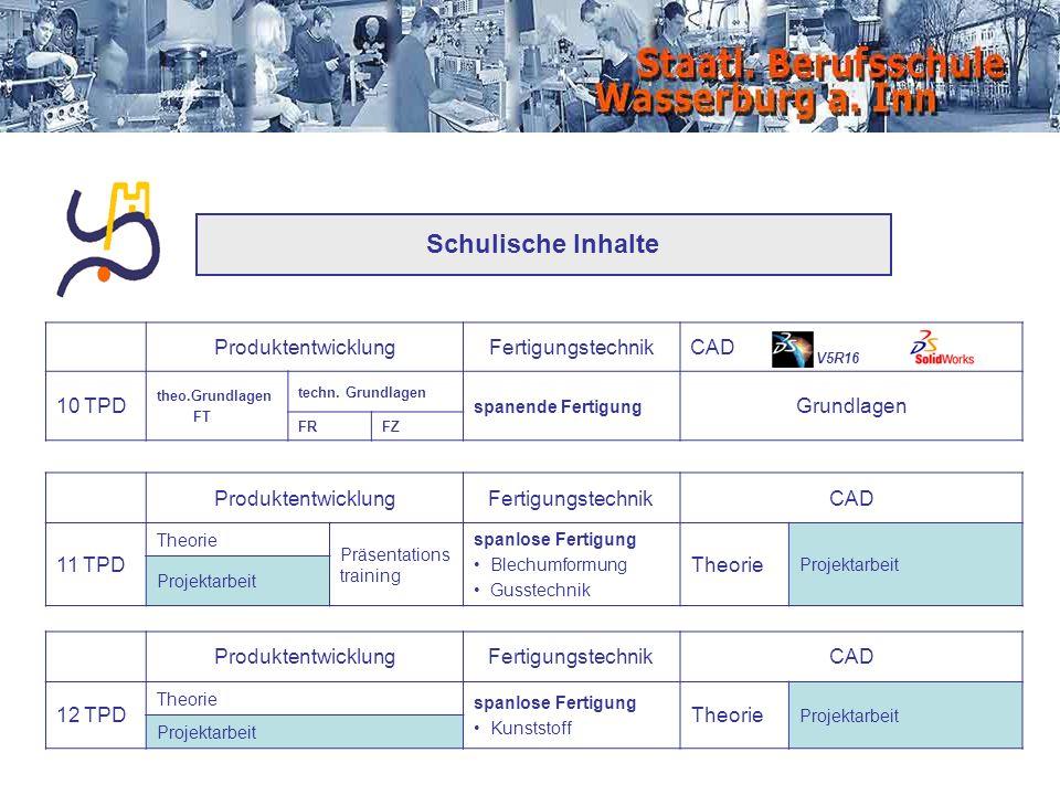 Schulische Inhalte Produktentwicklung Fertigungstechnik CAD 10 TPD