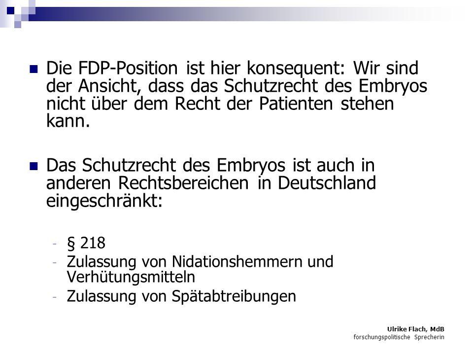 Die FDP-Position ist hier konsequent: Wir sind der Ansicht, dass das Schutzrecht des Embryos nicht über dem Recht der Patienten stehen kann.