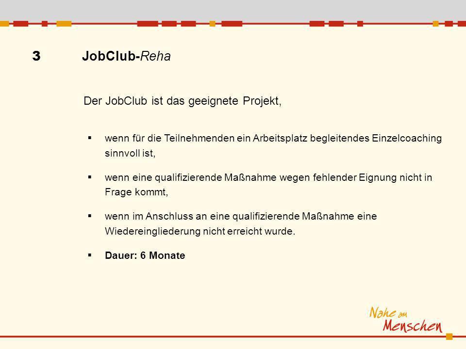 3 JobClub-Reha Der JobClub ist das geeignete Projekt,