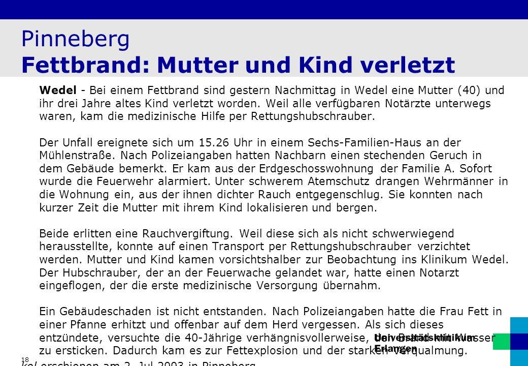 Pinneberg Fettbrand: Mutter und Kind verletzt