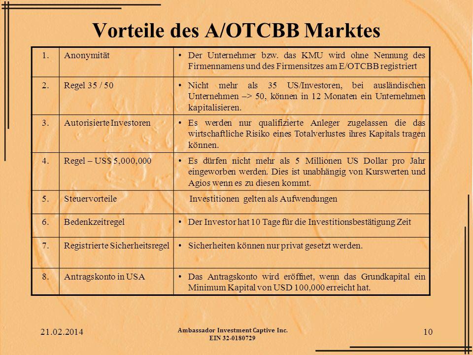 Vorteile des A/OTCBB Marktes