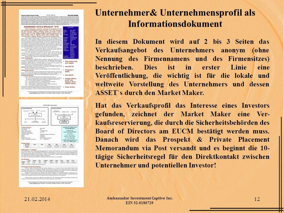 Unternehmer& Unternehmensprofil als Informationsdokument