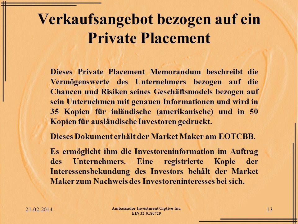 Verkaufsangebot bezogen auf ein Private Placement
