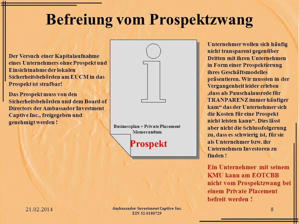 Befreiung vom Prospektzwang