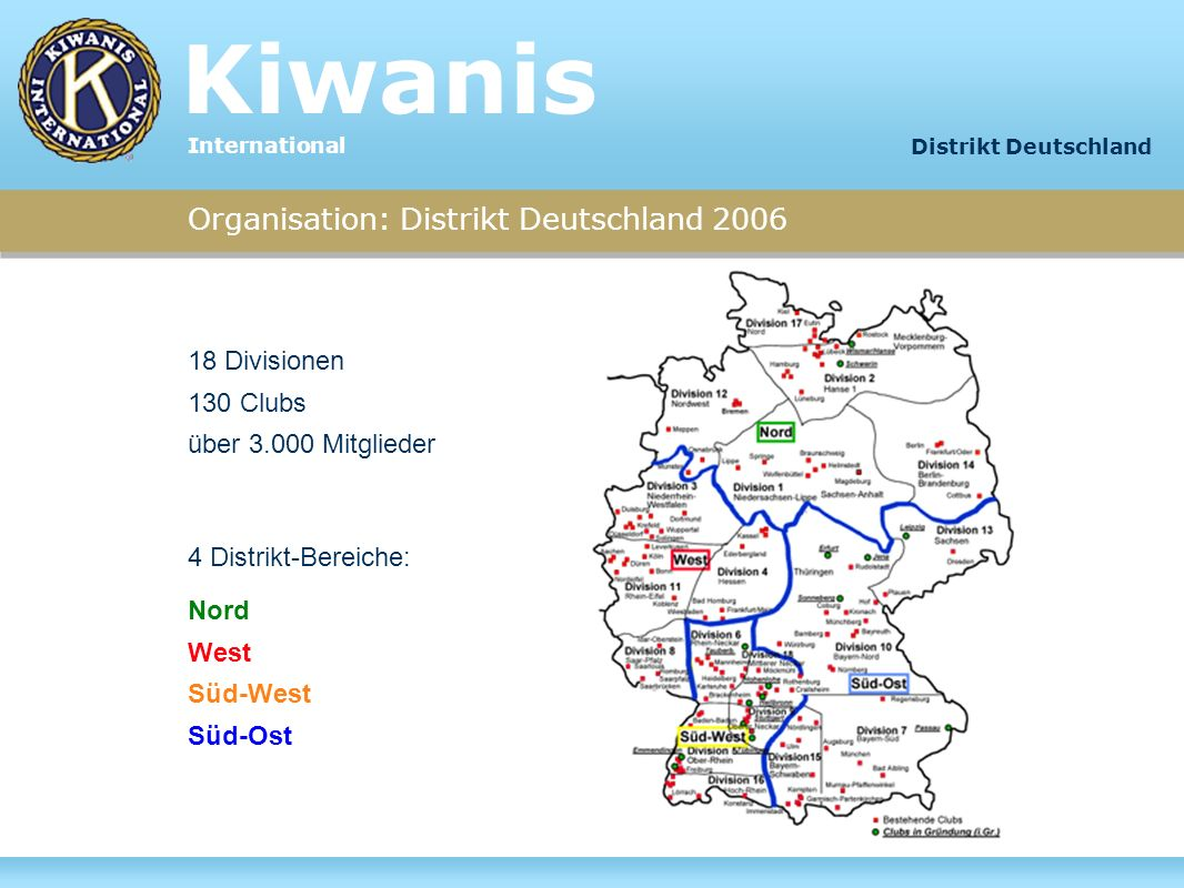 Kiwanis Organisation: Distrikt Deutschland 2006 18 Divisionen