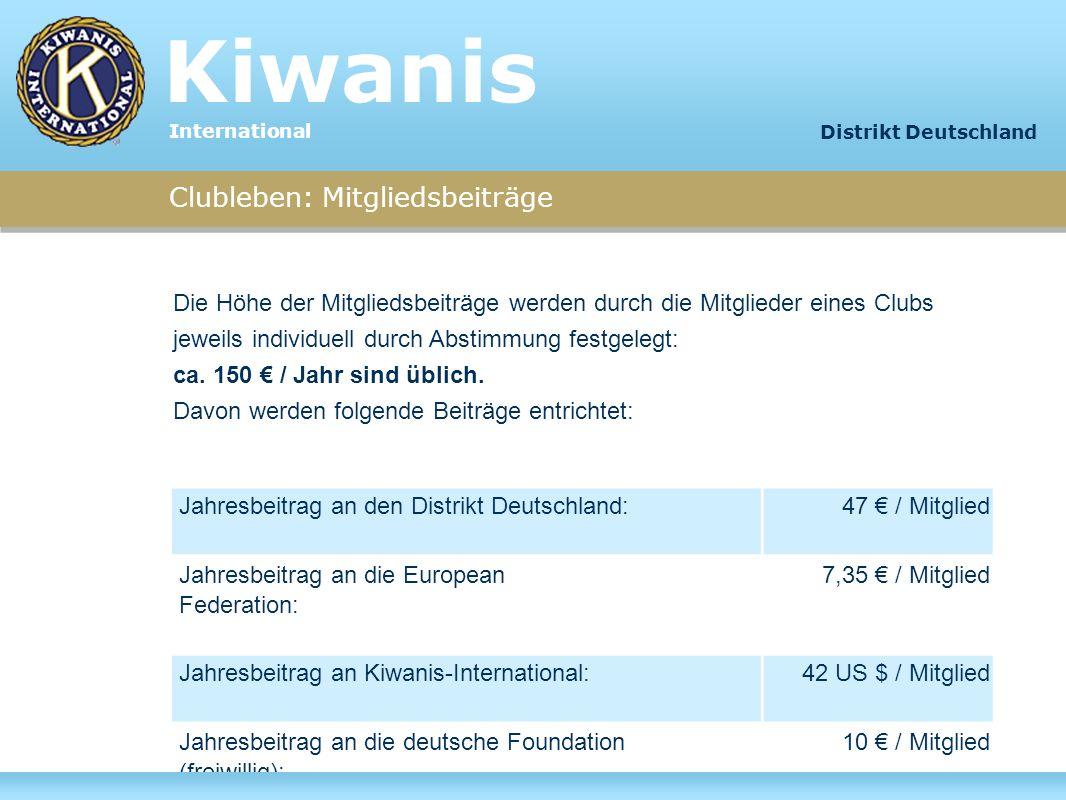 Kiwanis Clubleben: Mitgliedsbeiträge