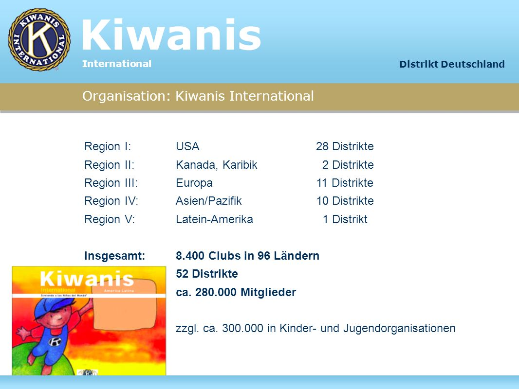Kiwanis Organisation: Kiwanis International Region I: USA 28 Distrikte