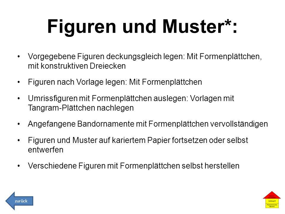 Figuren und Muster*: Vorgegebene Figuren deckungsgleich legen: Mit Formenplättchen, mit konstruktiven Dreiecken.