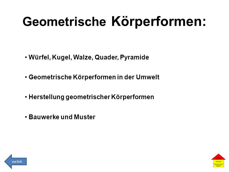 Geometrische Körperformen: