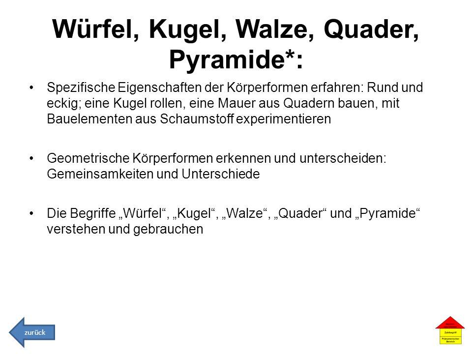 Würfel, Kugel, Walze, Quader, Pyramide*: