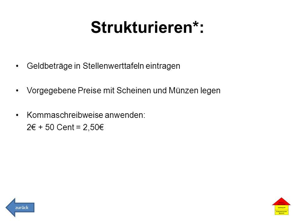 Strukturieren*: Geldbeträge in Stellenwerttafeln eintragen