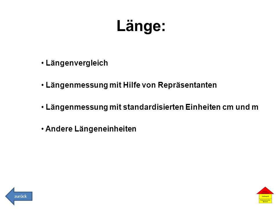 Länge: Längenvergleich Längenmessung mit Hilfe von Repräsentanten