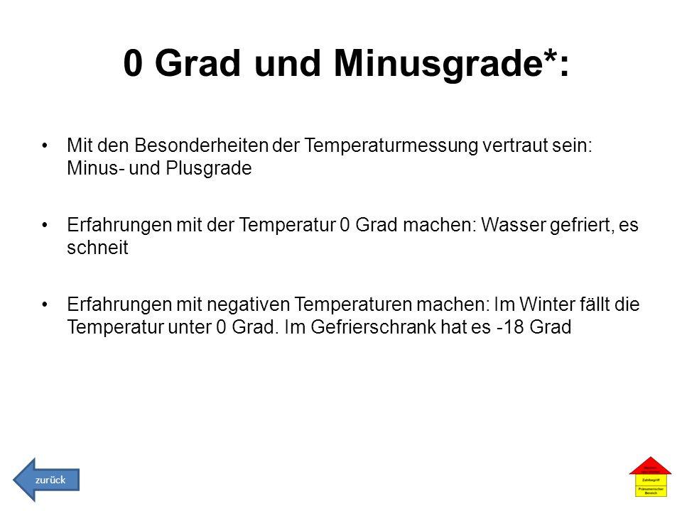 0 Grad und Minusgrade*: Mit den Besonderheiten der Temperaturmessung vertraut sein: Minus- und Plusgrade.