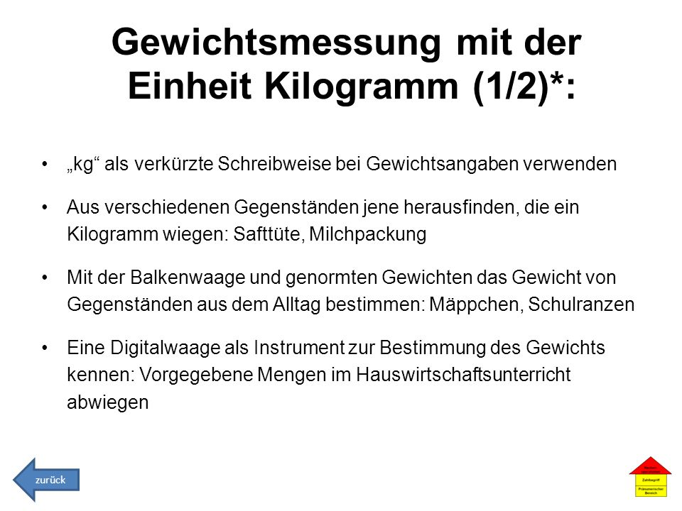 Gewichtsmessung mit der Einheit Kilogramm (1/2)*: