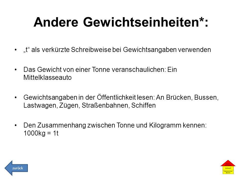 Andere Gewichtseinheiten*:
