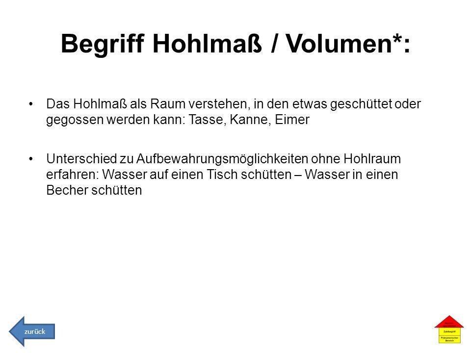 Begriff Hohlmaß / Volumen*:
