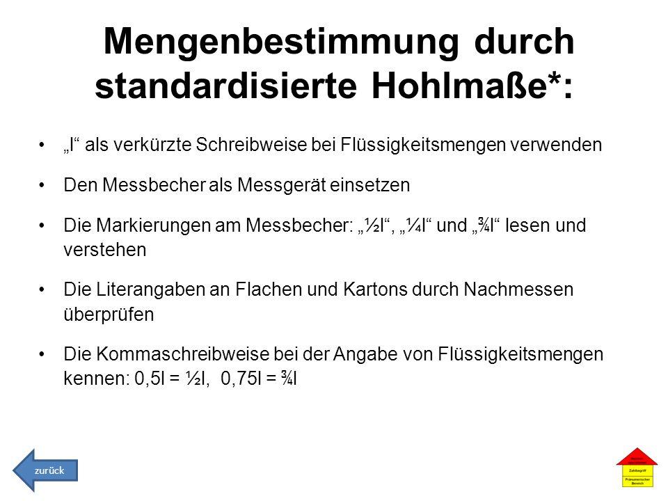 Mengenbestimmung durch standardisierte Hohlmaße*: